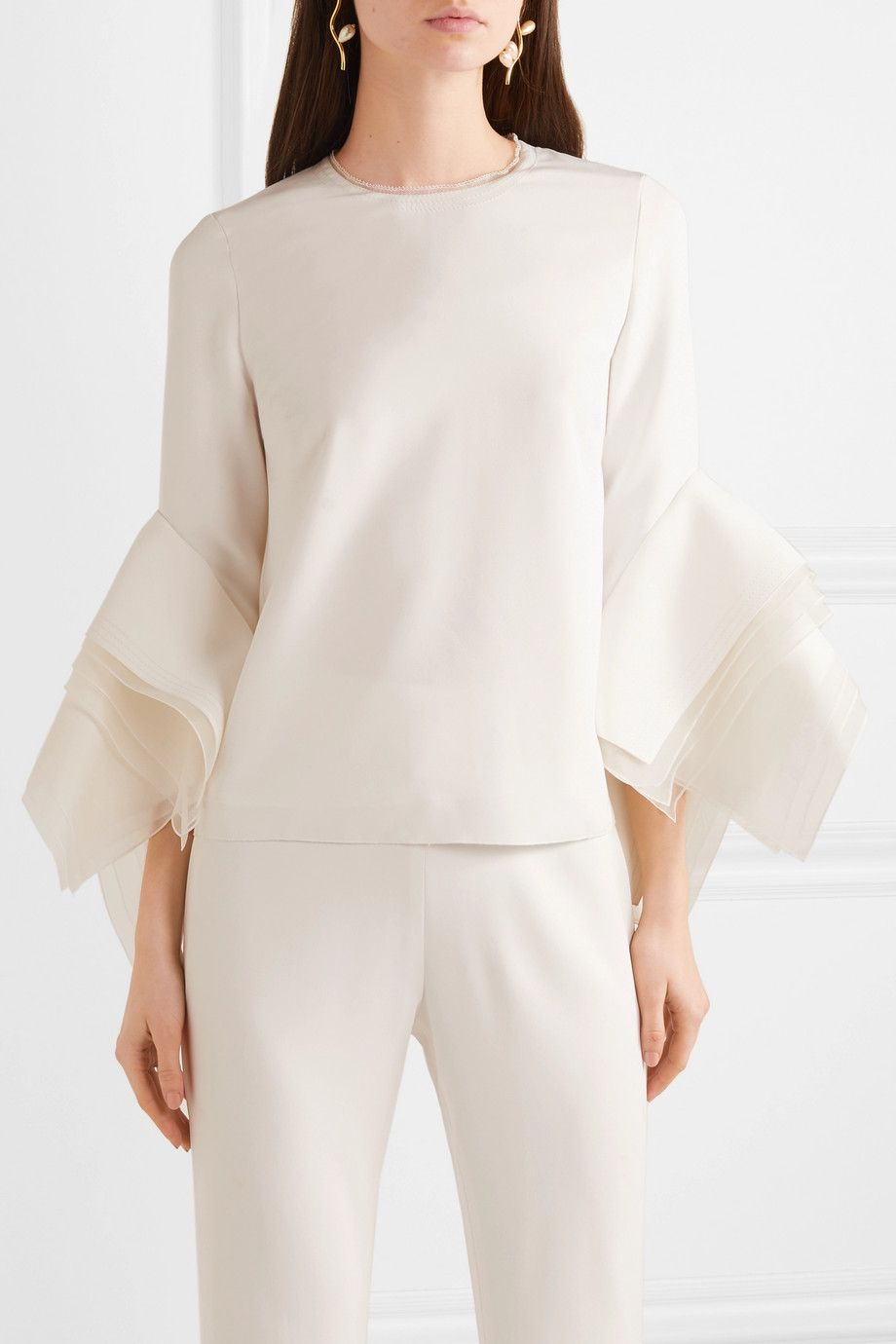 Tulle-trimmed crepe top