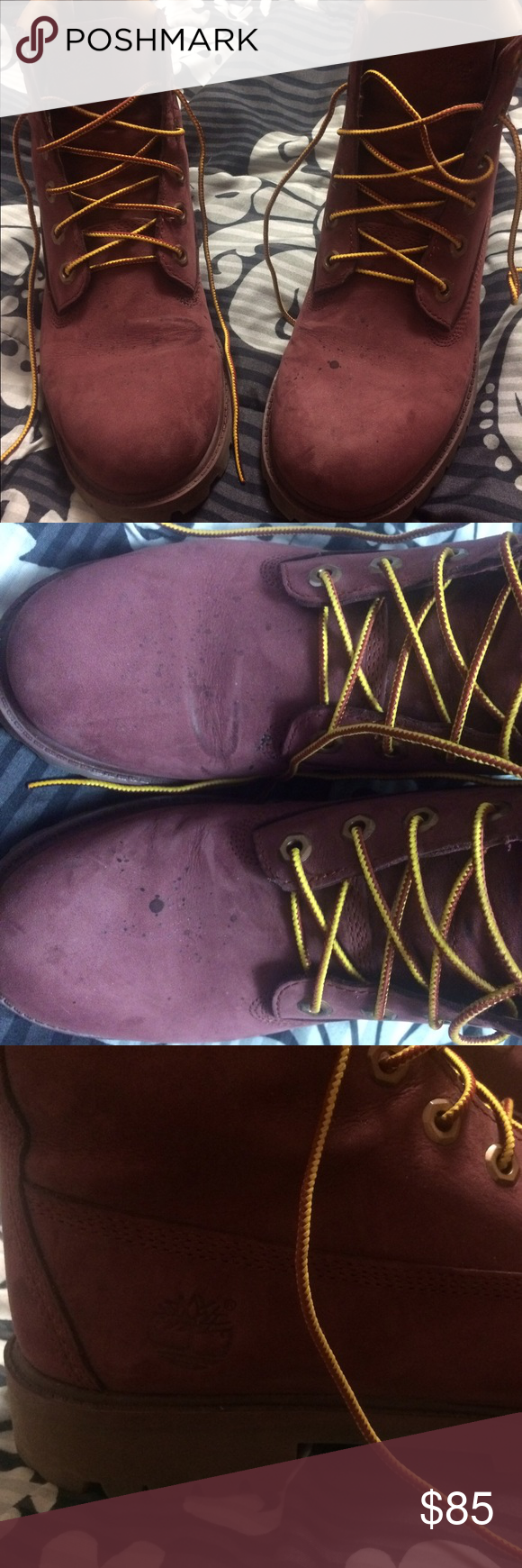 Maroon Timberlands ❤ Maroon/purple Timberlands that I bought in the fall. They have some water stain spots and stretch marks on the front as seen before but I think they can be taken to be cleaned professionally. They are still pretty new and a nice rare color. Boys size 6 which is a woman's size 8 They were very expensive and I love them but I need the money. No Trades but offers and bundles are welcome. 😊 Timberland Shoes Winter & Rain Boots