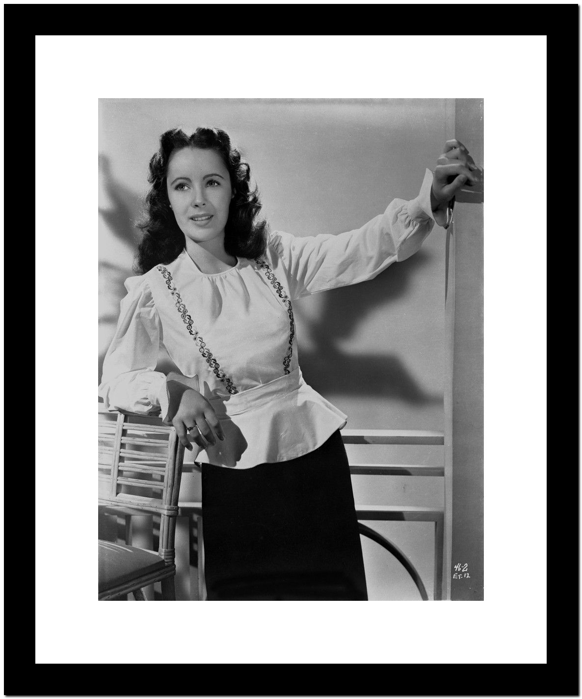 Elizabeth Taylor Leaning Pose in Classic Portrait Premium Art Print