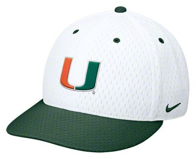 Miami Hurricanes Nike True Authentic Baseball Mesh Fitted Hat  4d54101474d