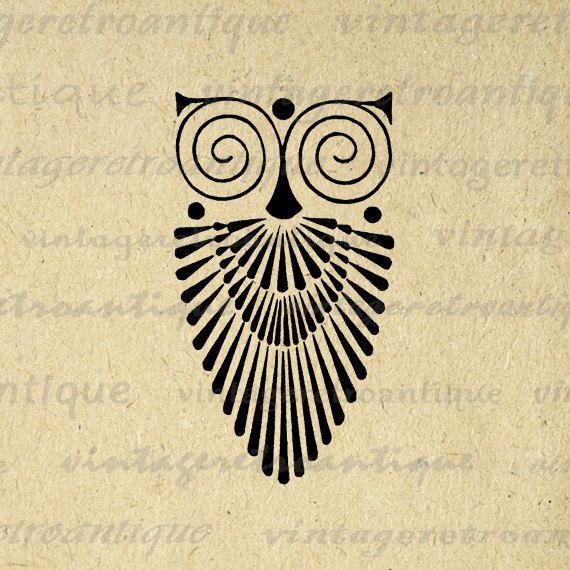 Art Deco Owl Image Graphic Download Bird Digital Printable Etsy Art Deco Tattoo Antique Artwork Clip Art Vintage