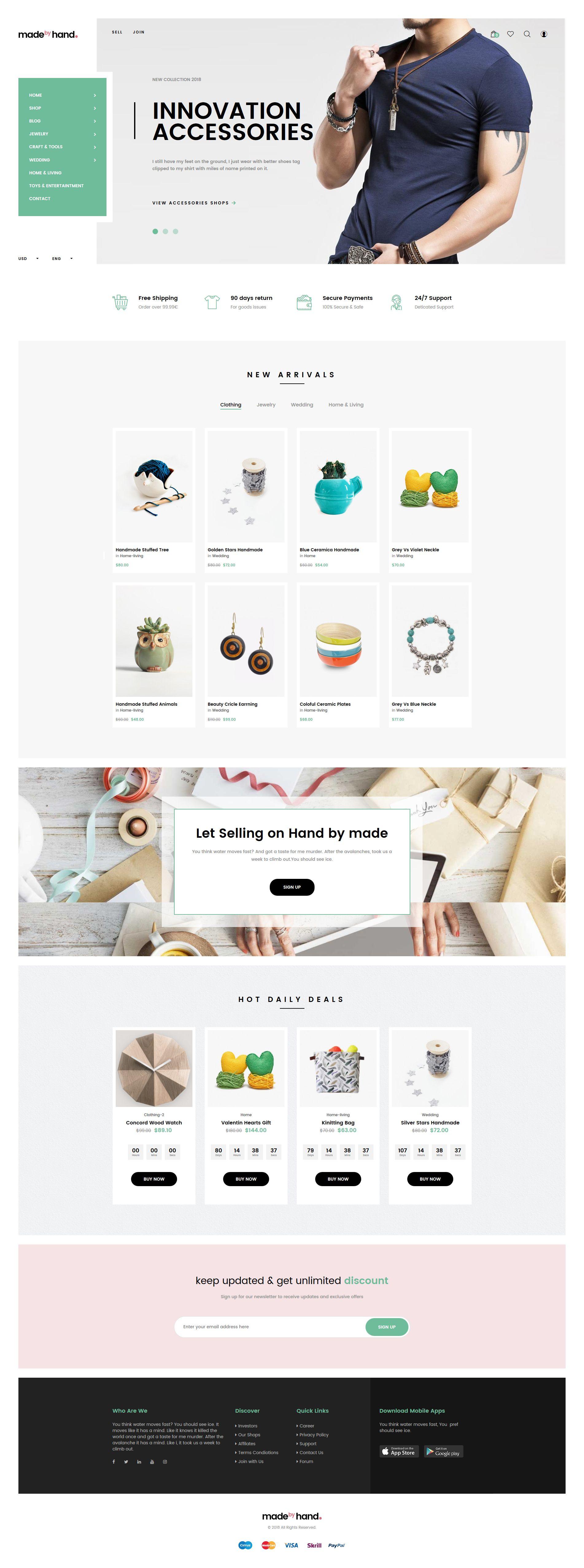 Made By Hand Minimal Handmade Prestashop Theme Ecommerce Website Design