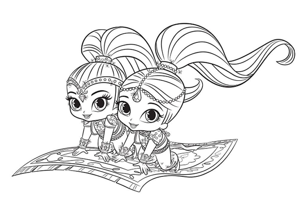 Shimmer and Shine Coloring Pages | Coloring pages, Free ...