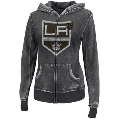 Majestic Los Angeles Kings Ladies Delayed Call Full Zip Hoodie Black Fleece Hoodie Women Hoodies Full Zip Hoodie