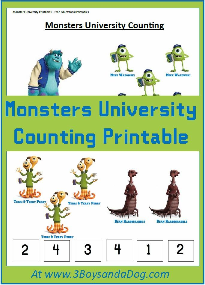 counting with monsters university printables count monsters and homeschool. Black Bedroom Furniture Sets. Home Design Ideas
