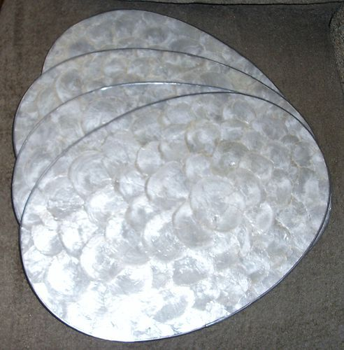New 4 Capiz Medallions Mother Of Pearl Shell Oval