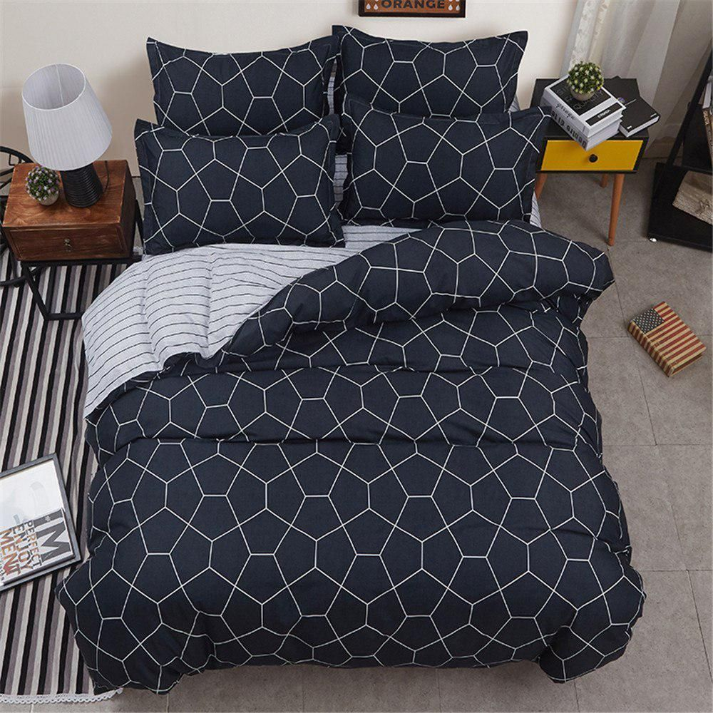 Brief black lattices stripes Bedding Sets twin full Queen