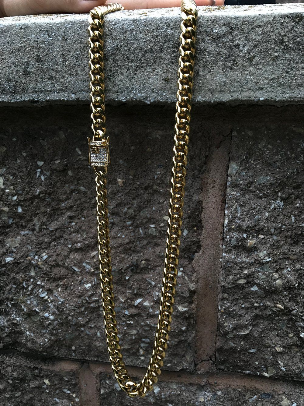 Diamond Clasp Miami Cuban Link Gold Chain Cuban Link Chain Miami Cuban Link Chain Mens Jewelry