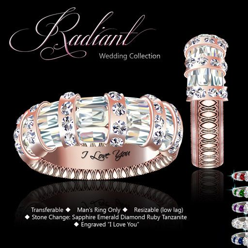 Exquisite Radiant Mans Ring Rose Gold Second life jewelry jewellery