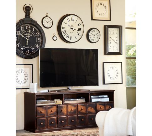 Andover Media Console Weathered Walnut Finish Pottery