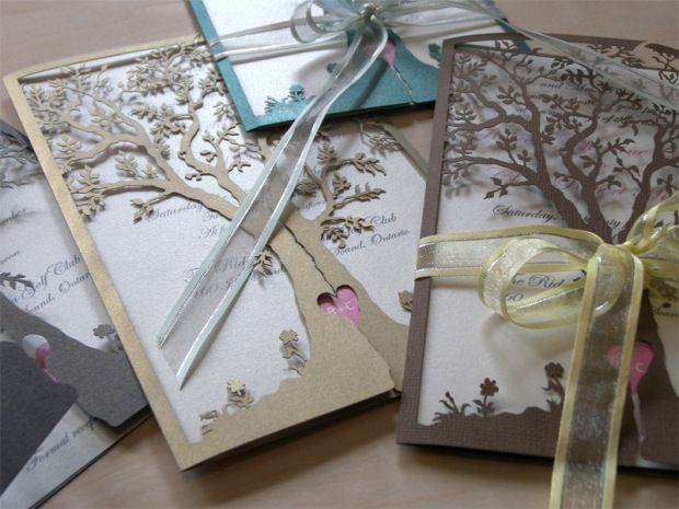 Love Tree laser cut wedding invitations in different colours and papers