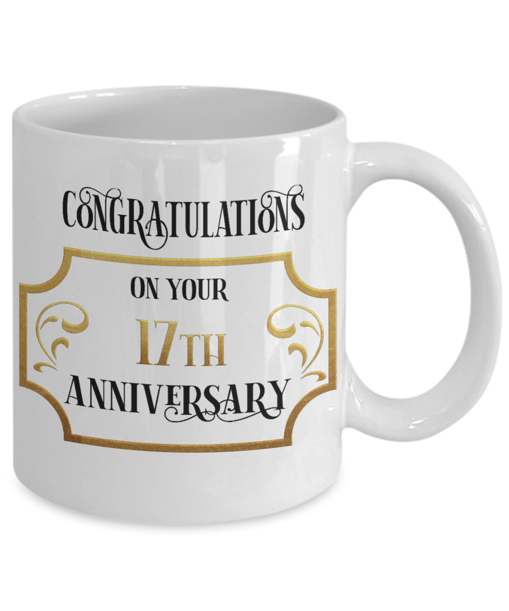 17th Anniversary Mug Congratulations Wedding Coffee Cup in