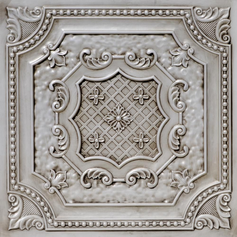 From Plain To Beautiful In Hours Elizabethan Shield 2 Ft X 2 Ft Pvc Glue Up Or Lay In Ceiling Tile In Antique Faux Tin Ceiling Pvc Ceiling Tiles Tin Ceiling