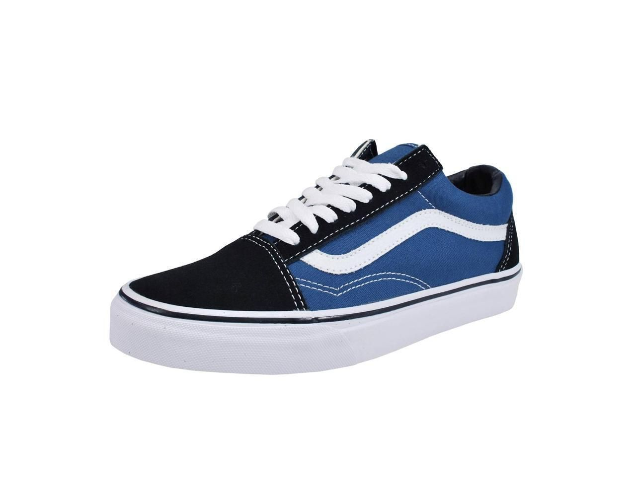 5d384715e31e Vans Men Women Navy Blue White Canvas Suede Mix Old Skool Skate Sneakers