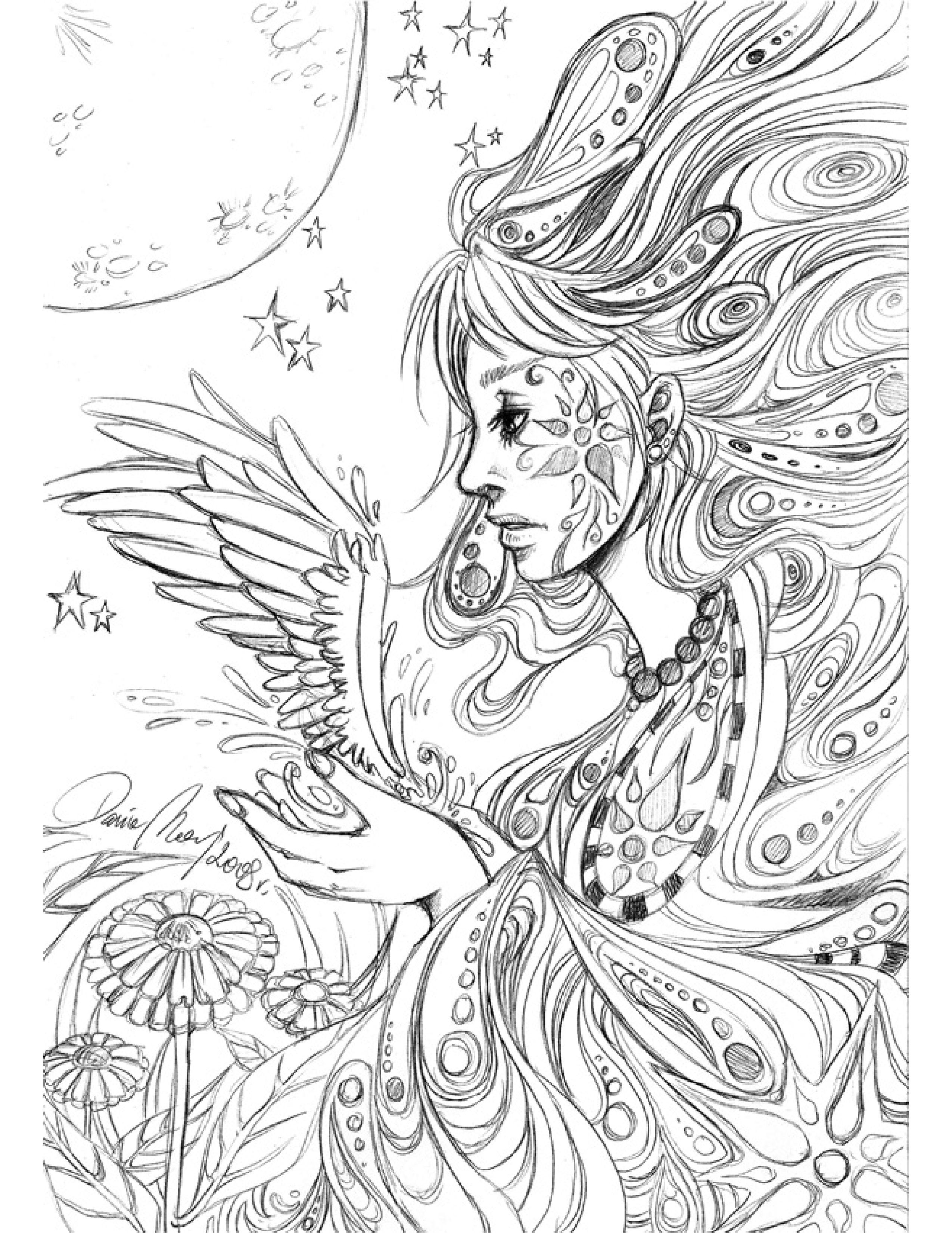 Sketch personnage ange coloriage pour imprimer par Dar ...