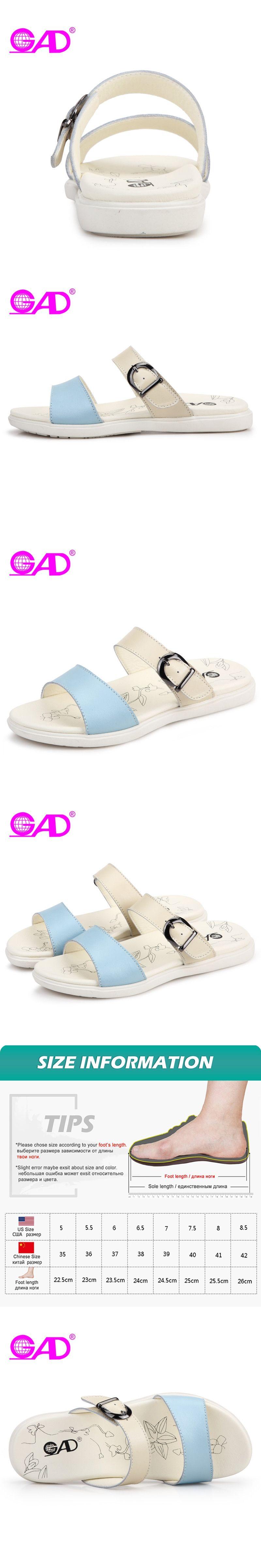 6840a85a897a GAD Women Summer Slippers Fashion Design Metal Buckle Open Toe Breathable  Women Beach Slides Simple Wild