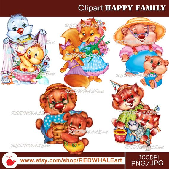 Happy Family Clipart Elements Set / 5PNG/JPG/ For by REDWHALEart