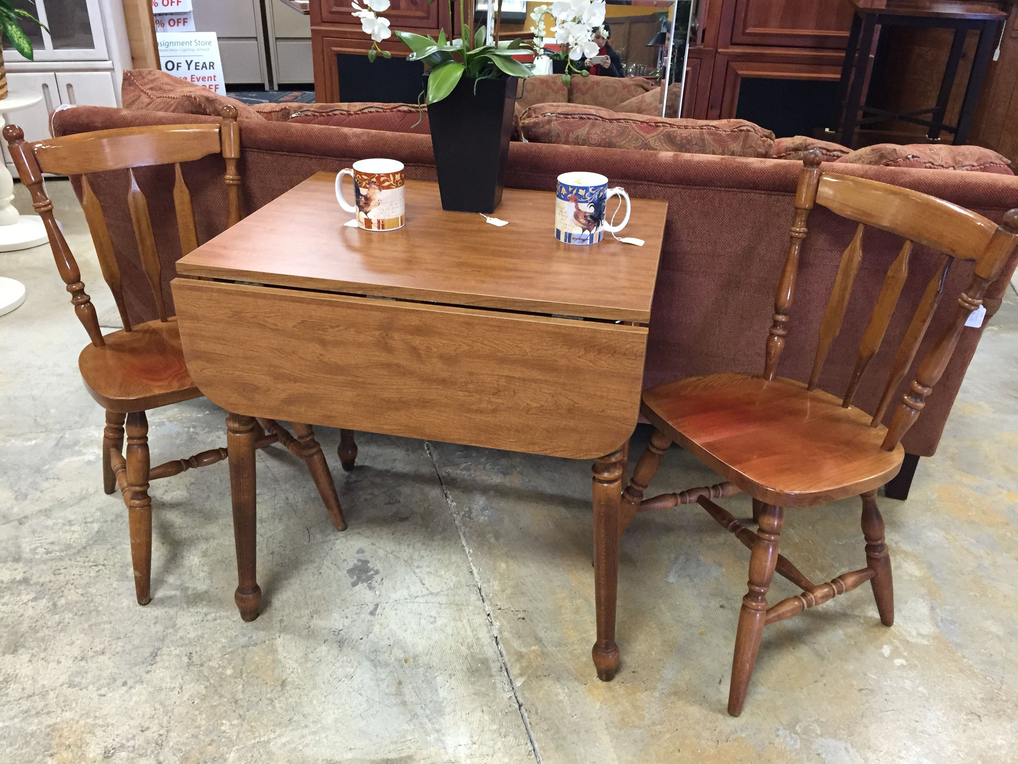 Simple but elegant drop leaf table and two chairs all for
