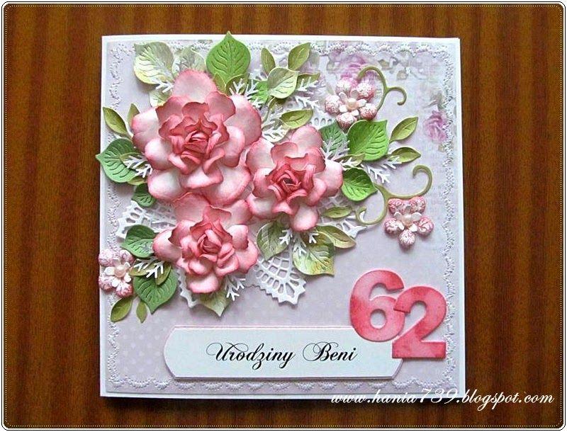 Kartka Urodzinowa Z Rozami Dla Milej Jubilatki Kwiaty Wykonalam Z Papieru Scrapkowego Dziekuje Wam Za Odwied Birthday Cards Flower Cards Happy Birthday Cards