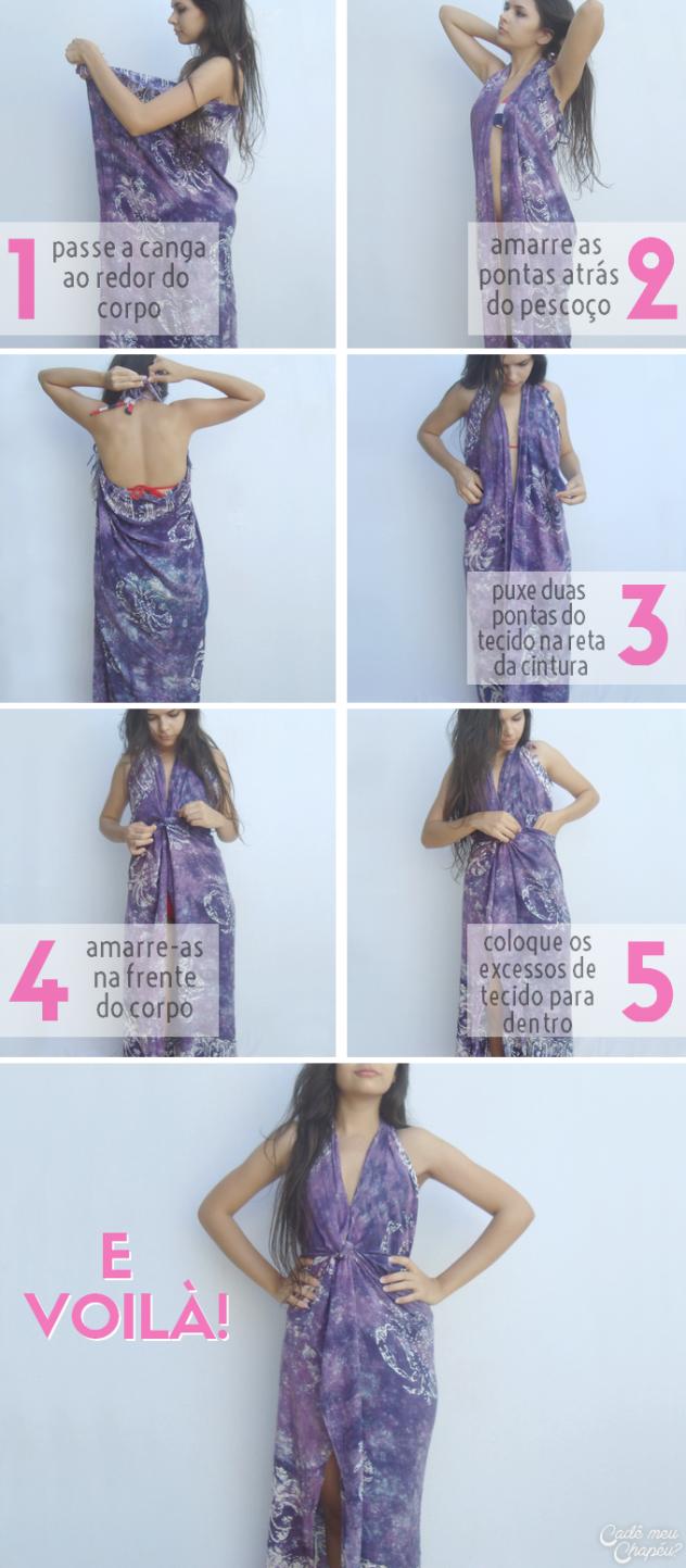 e1635f715357 5 formas de usar cangas | vida saudável | Vestido canga, Vestido de ...