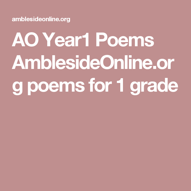 AO Year1 Poems AmblesideOnline.org poems for 1 grade | poems ...