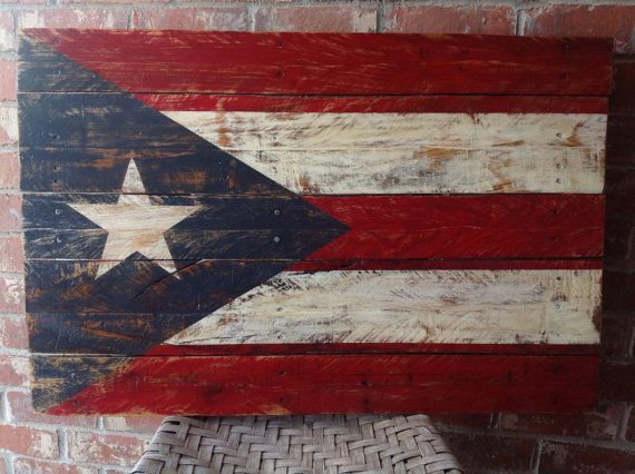 Puerto Rico Flag Hand Painted On Reclaimed Pallet Wood