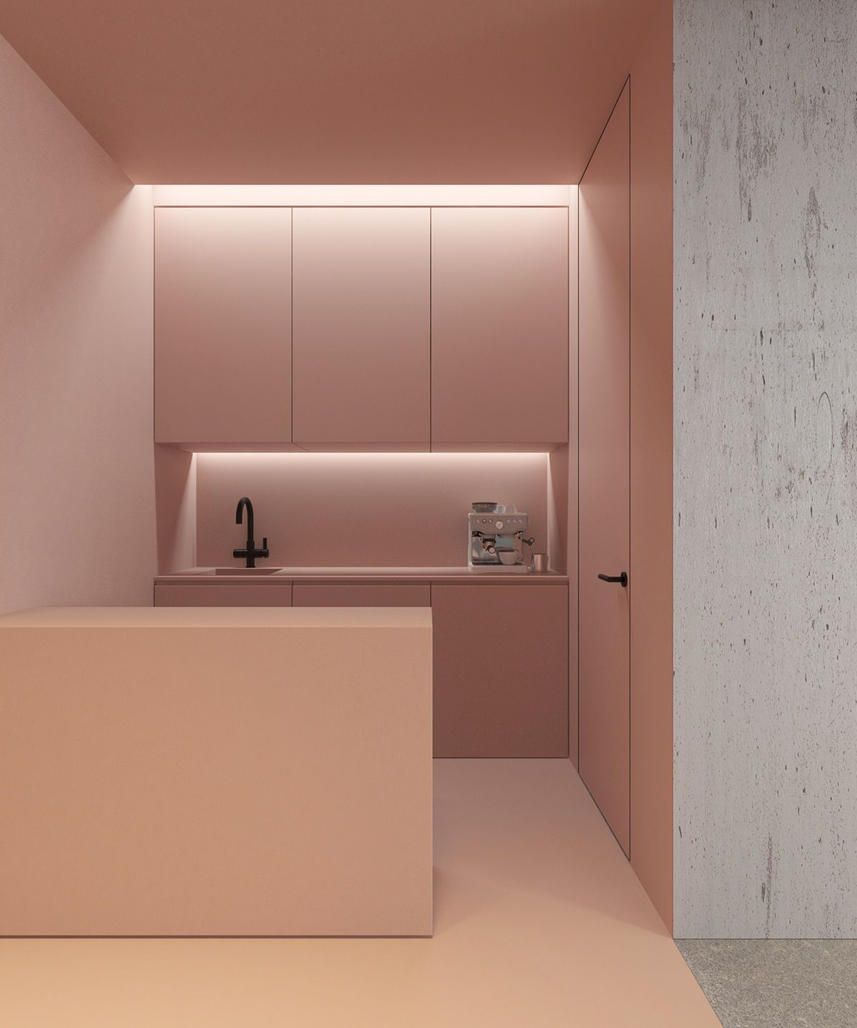 soft pink kitchen with black tap Architects