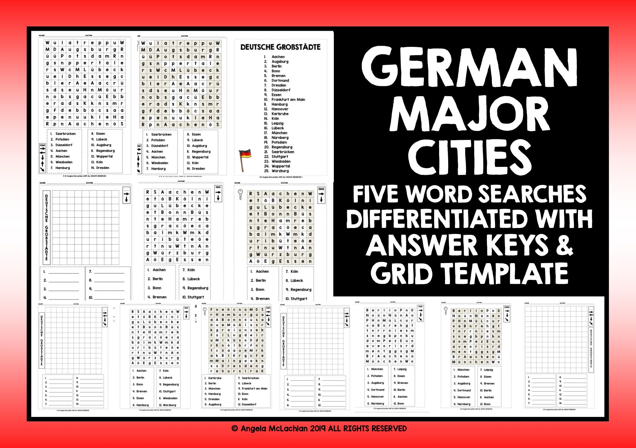 German Cities Word Searches