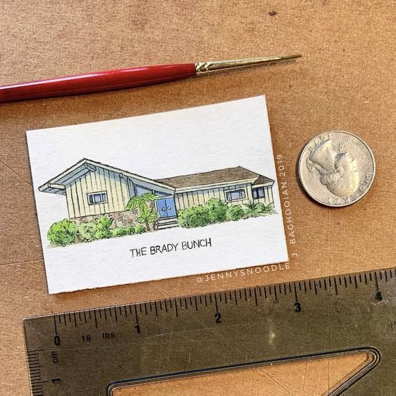 The Brady Bunch House Original Watercolor Painting - Mini Home Portrait from Photo - Classic TV Show Illustration - Fan Art Gift - Unframed