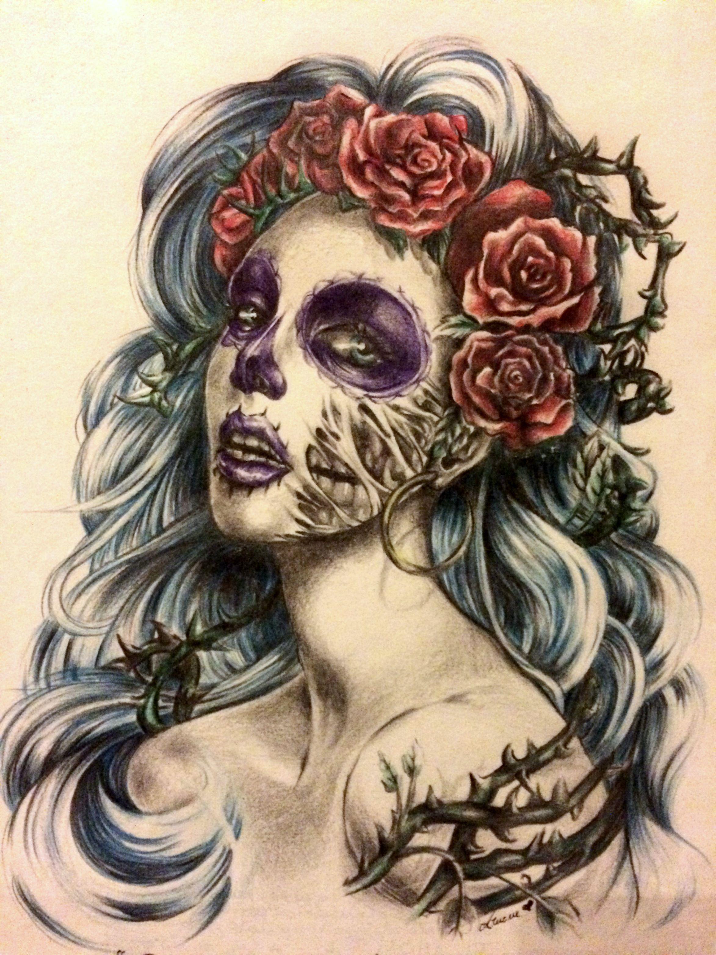 Santa Muerte Tattoo With Roses Tatuagem Caveira Desenho Caveira