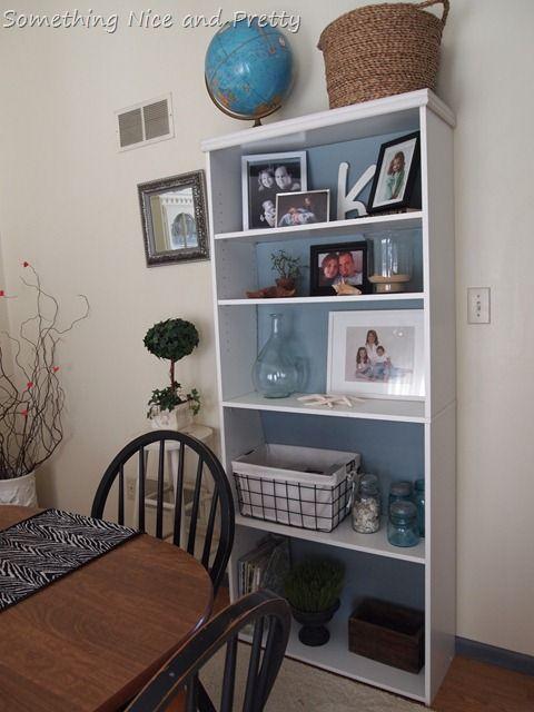 bookcase made over using a sample jar of valspar blue cafe on posterboard - Blue Cafe Decorating