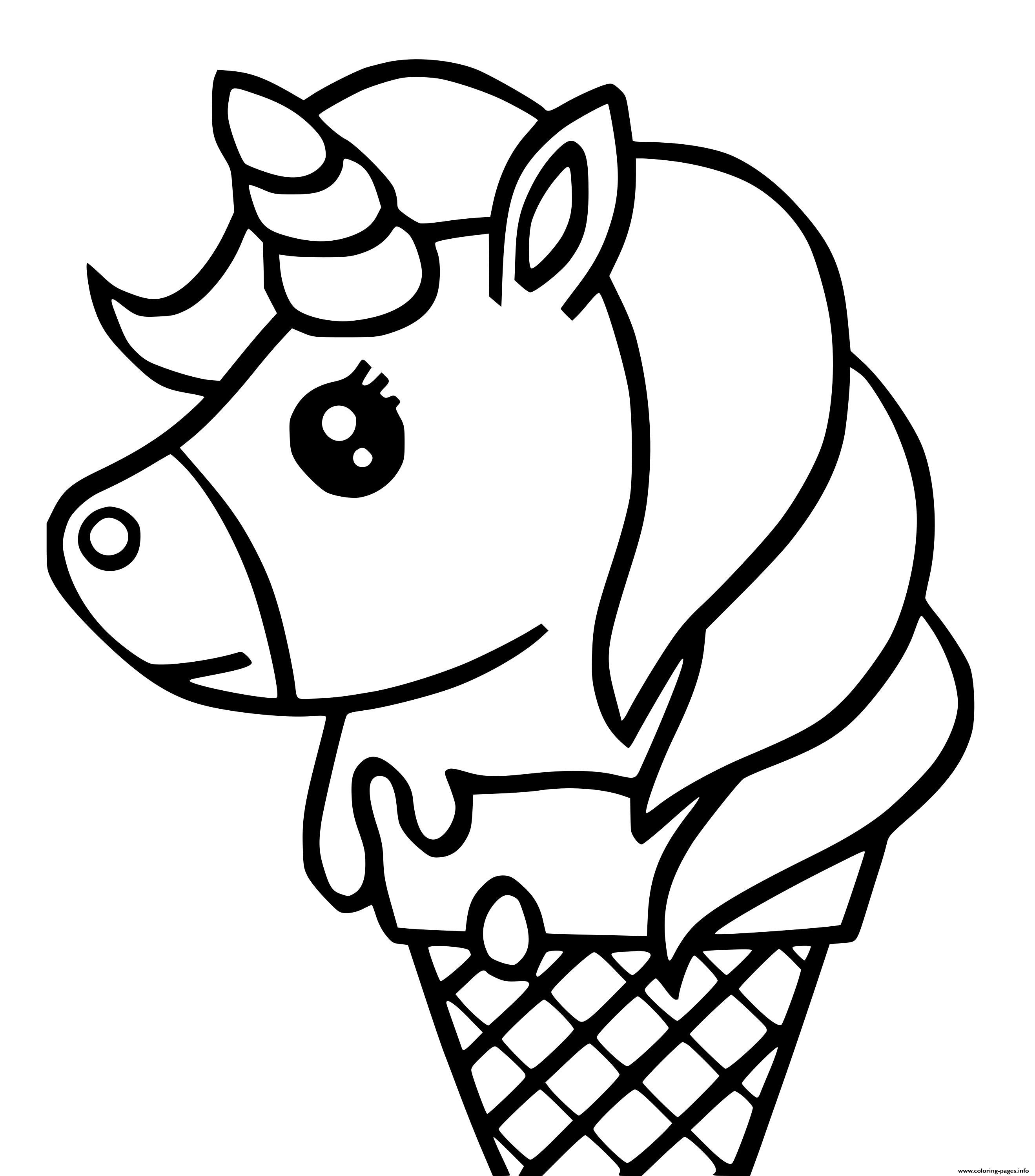 Print cute unicorn ice cream kawaii coloring pages in 2020 ...