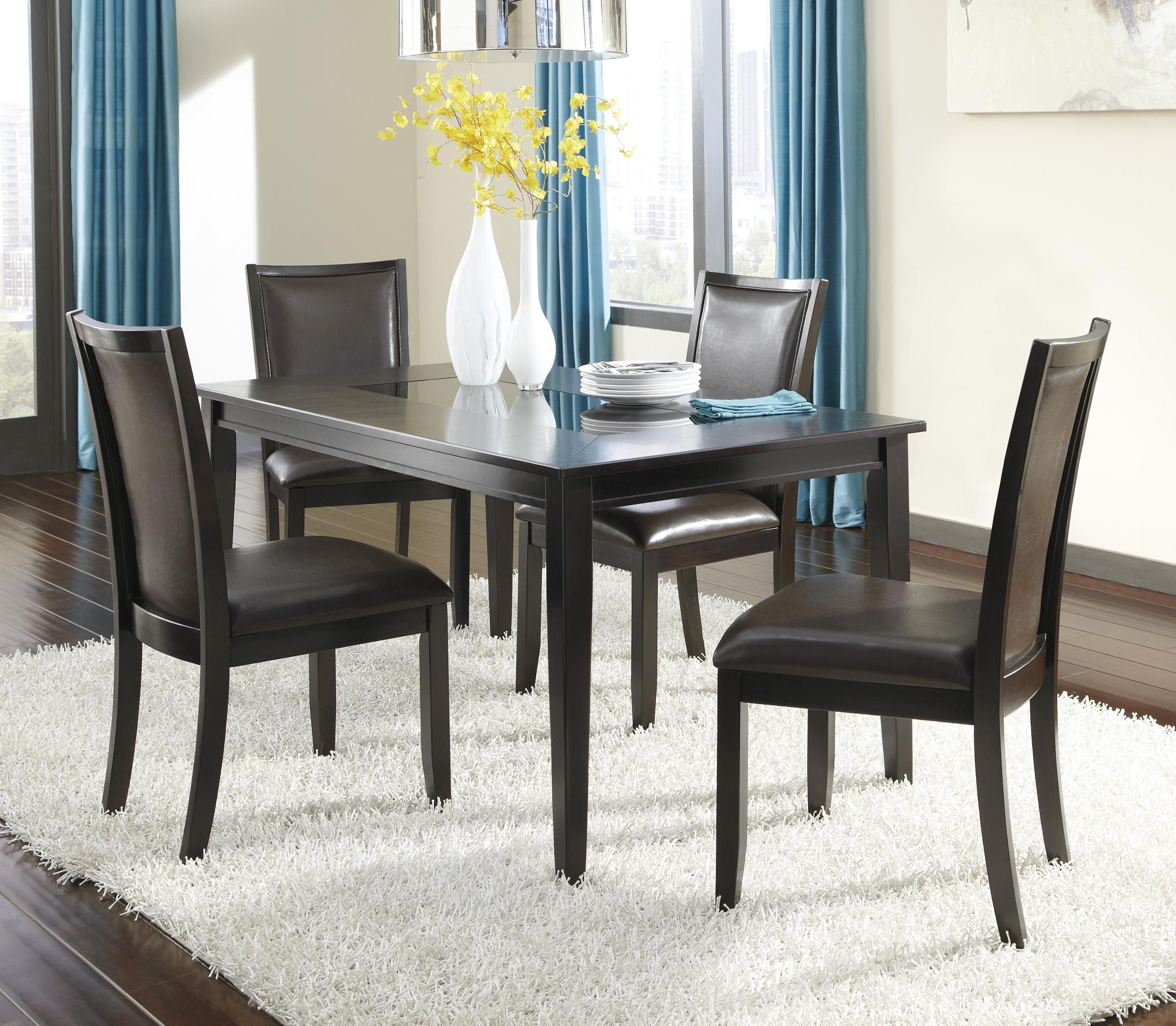 Ashley Furniture Trishelle 5 Piece Rectangular Dining Table Set With Brown Chairs