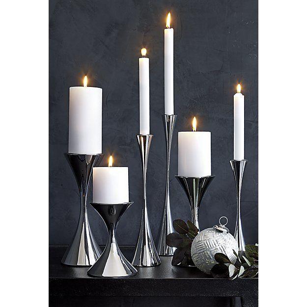 Shop Arden Tall Stainless Steel Pillar Candle Holder Designer Robert Welch Creates A Modern Taper Candle Holders Chrome Candle Holders Lantern Candle Holders