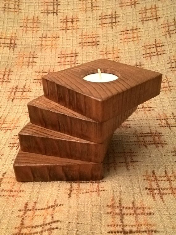 Wooden Tea Light Candle Holder By