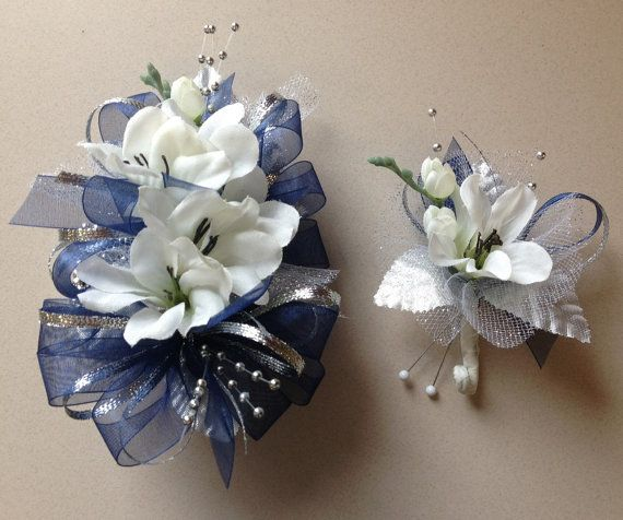 Navy Blue Amp Silver Silk Prom Wrist Corsage By