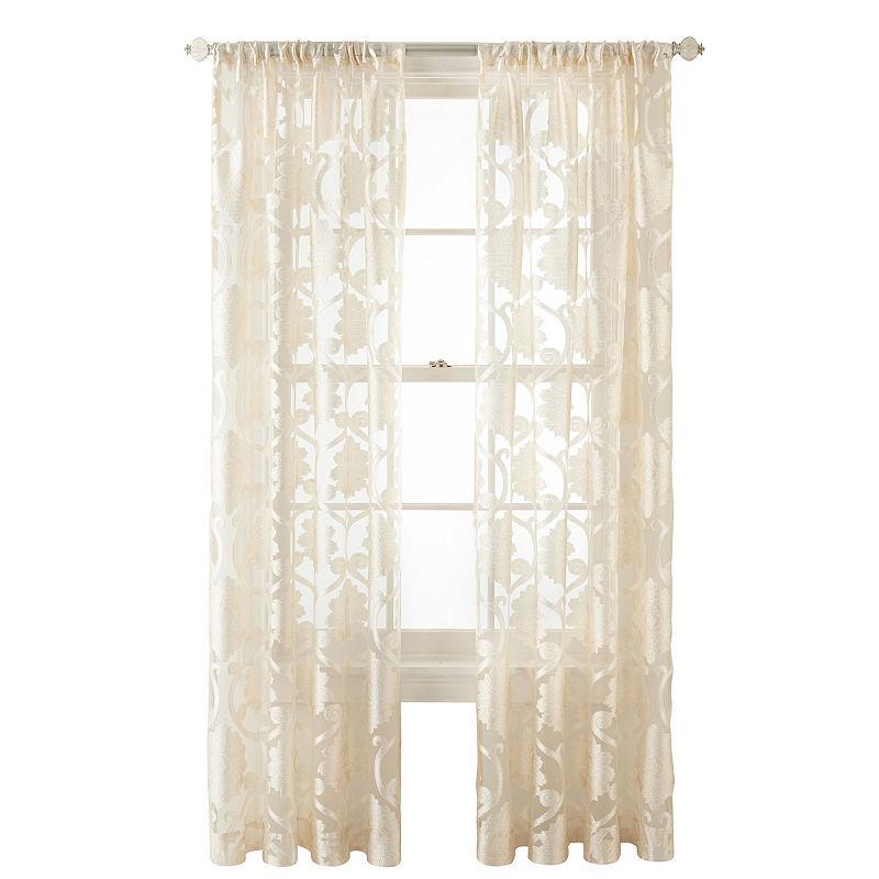 Jcpenney Home Belgravia Rod Pocket Sheer Curtain Panel Sheer