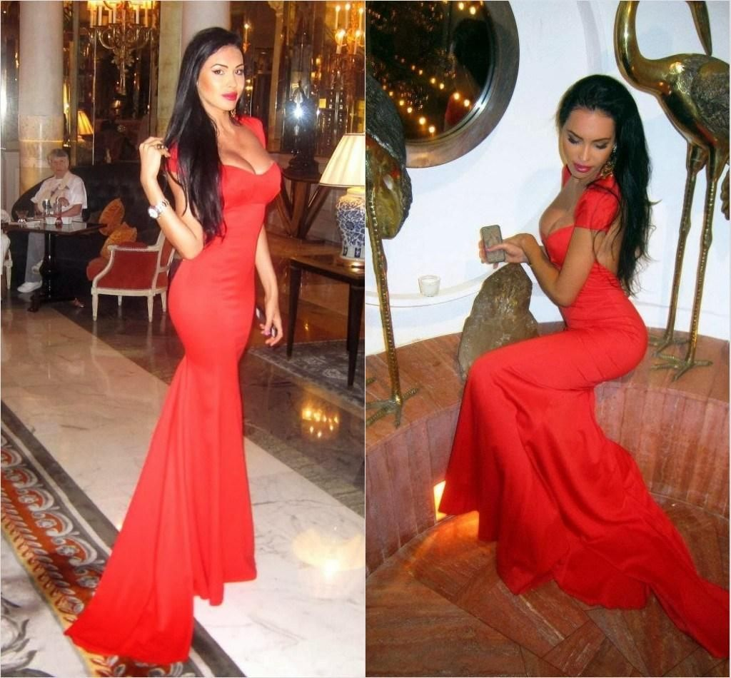 New arrival red sweetheart cap sleeves long evening dress sexy