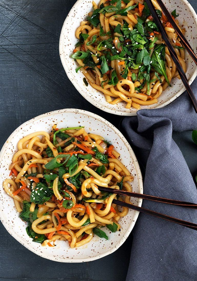 15 Minute Spicy Udon And Vegetable Stir Fry Recipe Udon Stir Fry Stir Fry Spicy