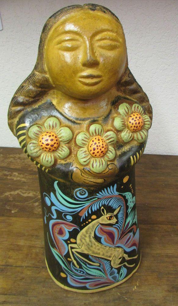 Maria #1 Clay Figure -Mexican Folk Art-Handmade-Handpainted-Garden-So Cute