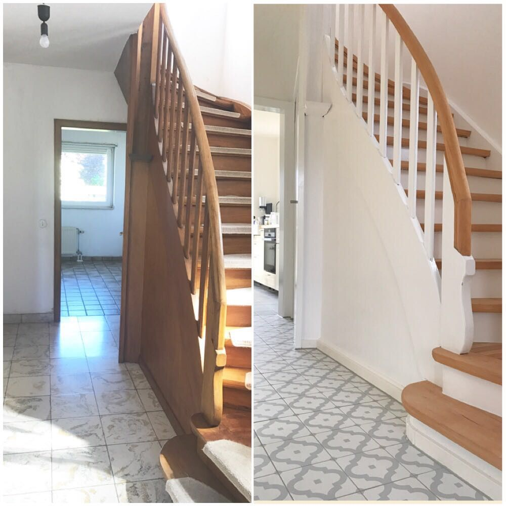 treppe vorher nachher diy renovierung altbau haus pinterest altbauten renovierung und. Black Bedroom Furniture Sets. Home Design Ideas
