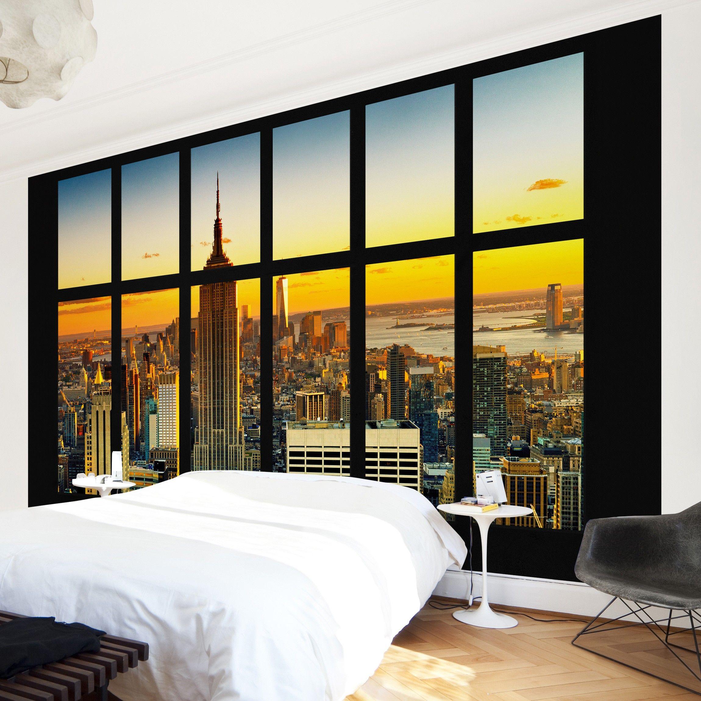 Vista Spettacolare Di New York Al Tramonto Dalla Finestra Della Camera Da Letto Carta Da Parati Finestra Tramonti
