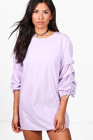 5d2cc831cd66 #boohoo Gathered Balloon Sleeve Shift Dress - lilac #Penny Gathered Balloon  Sleeve Shift Dress - lilac