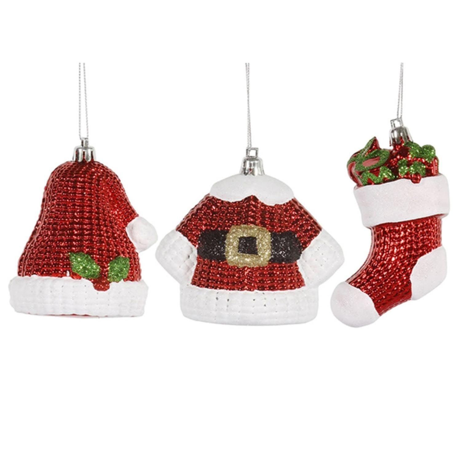 Vickerman 6ct Shiny Shatterproof Santa Claus Hat, Jacket, and Stocking Christmas Ornaments