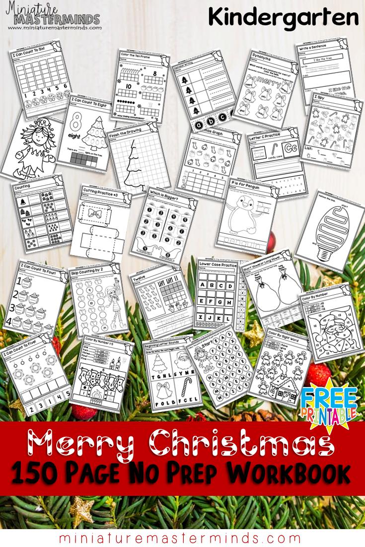 150 Page No Prep Kindergarten Worksheet Book Free Download Christmas Worksheets Kindergarten Preschool Christmas Worksheets Christmas Kindergarten [ 1102 x 735 Pixel ]