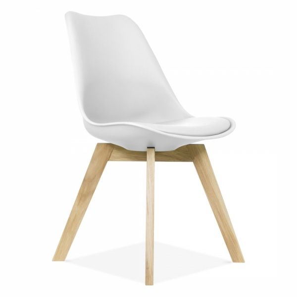 Scandi Designs Soft Pad Dining Chair with Solid Oak Crossed