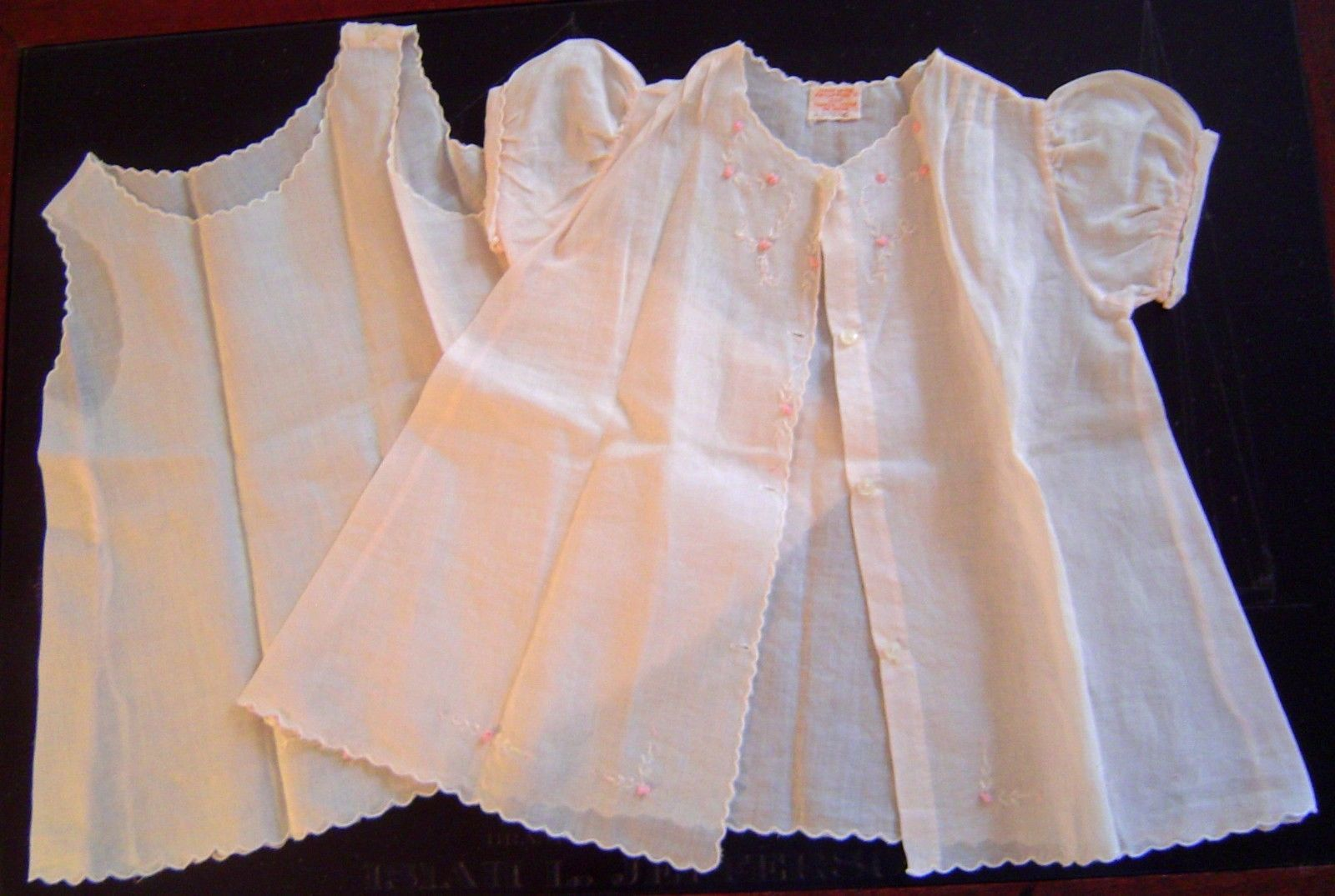Vtg Antique Pink Baby Girl S Dress Slip 6 Month Batiste Embroidery