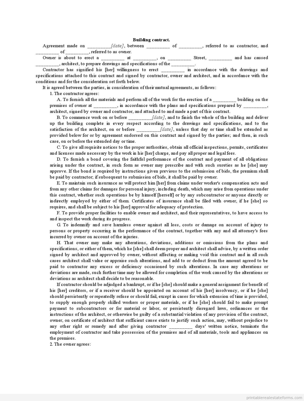 Printable Building Contract Template 2015