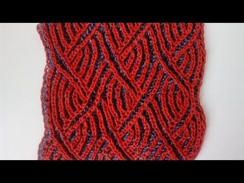 Two-color brioche zigzag pattern + free chart - YouTube | punto ...