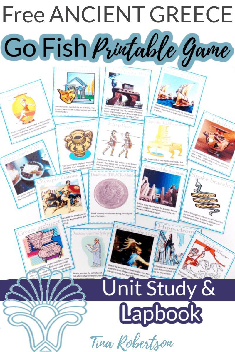 Free Ancient Greece Go Fish Game Ancient Greece Unit Study Ancient Greece Ancient Rome Kids Going Fishing